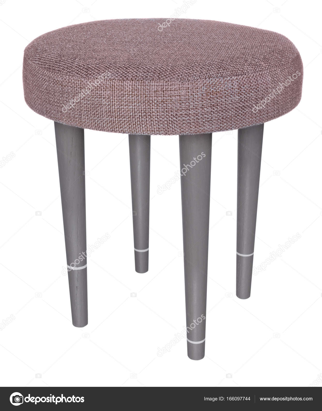 Enjoyable Handmade Stool Gray With White Stripes Round Seat In Grey Pdpeps Interior Chair Design Pdpepsorg