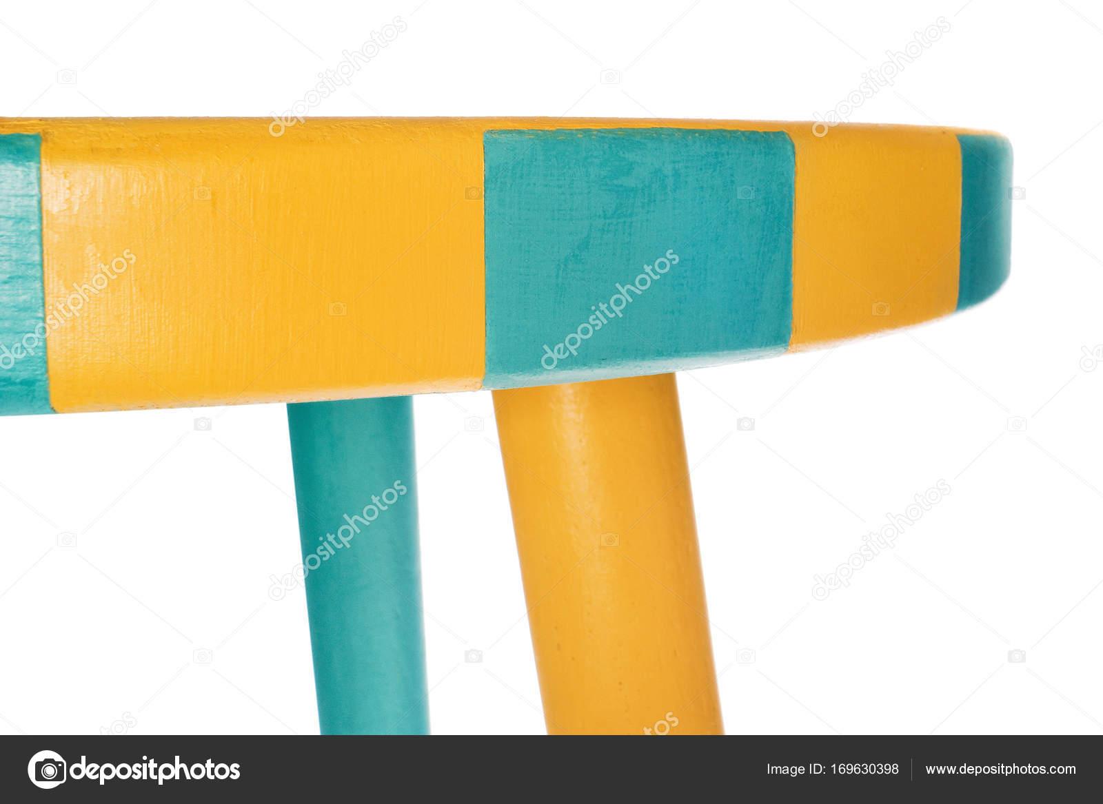 Sgabello a mano nel turno giallo e verde con sedile con giallo e gr