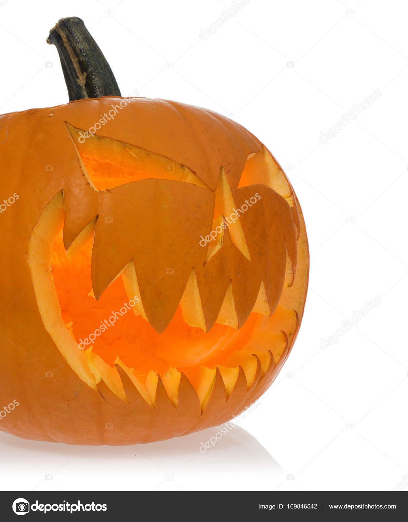 Halloween Verlichting.Halloween Enge Pompoen Verlichting Van Binnen Stockfoto