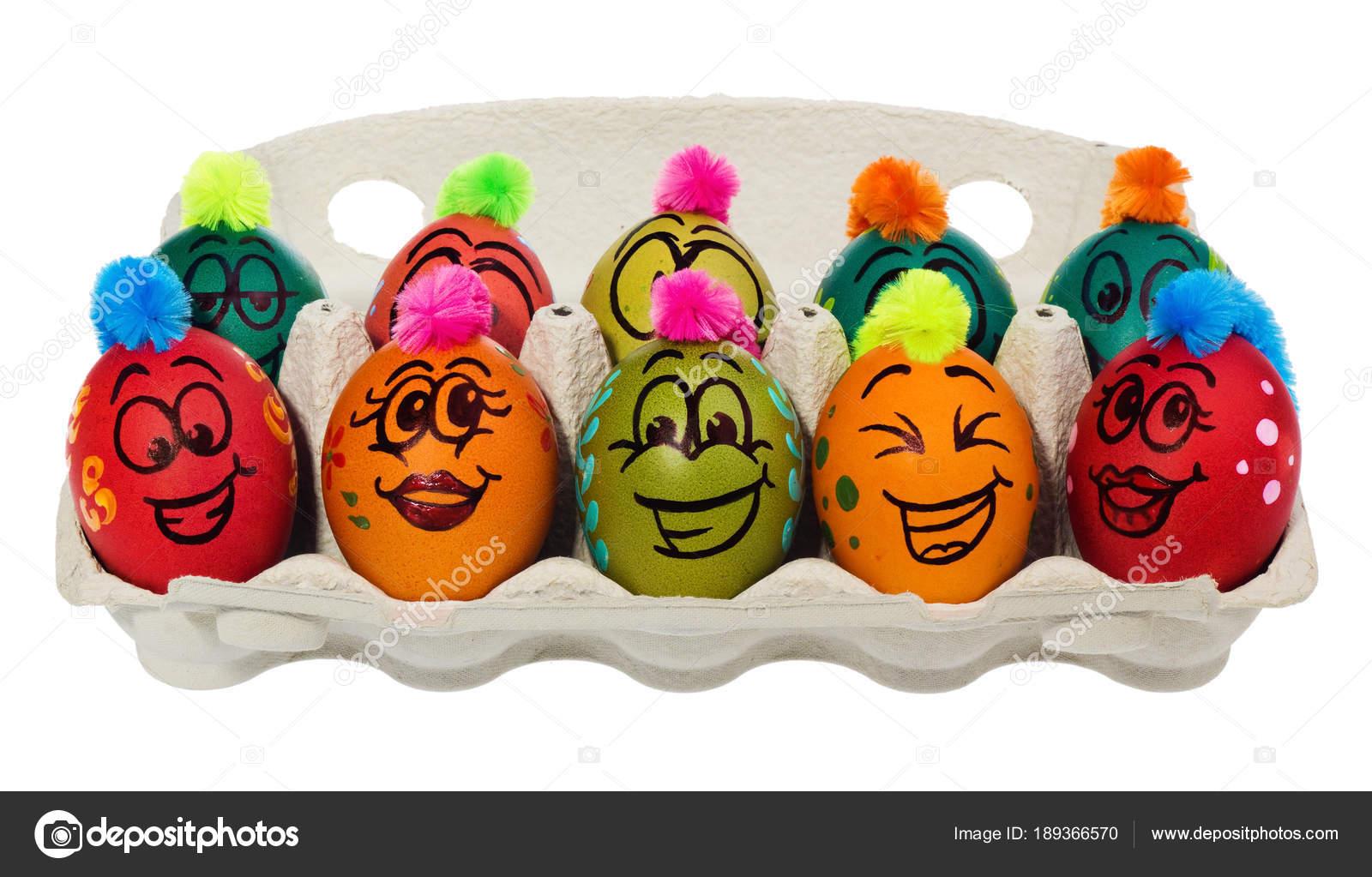 Paskalya Yumurtaları El Boyaması Gülümseyen Ve Dehşete Fac