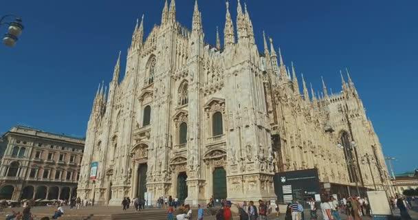 DUOMO DI MILANO, MILAN, ITALY - 10 OCT 2017: flight camera stabilizer. Milan Cathedral Duomo di Milano , Duomo Square Piazza del Duomo , Italy