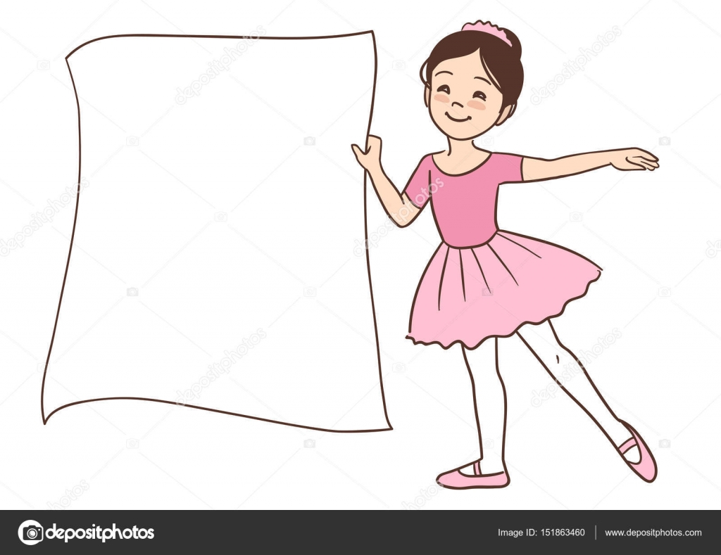 Cartoon Ballerina Girl Holding A Blank Sign Stock Vector