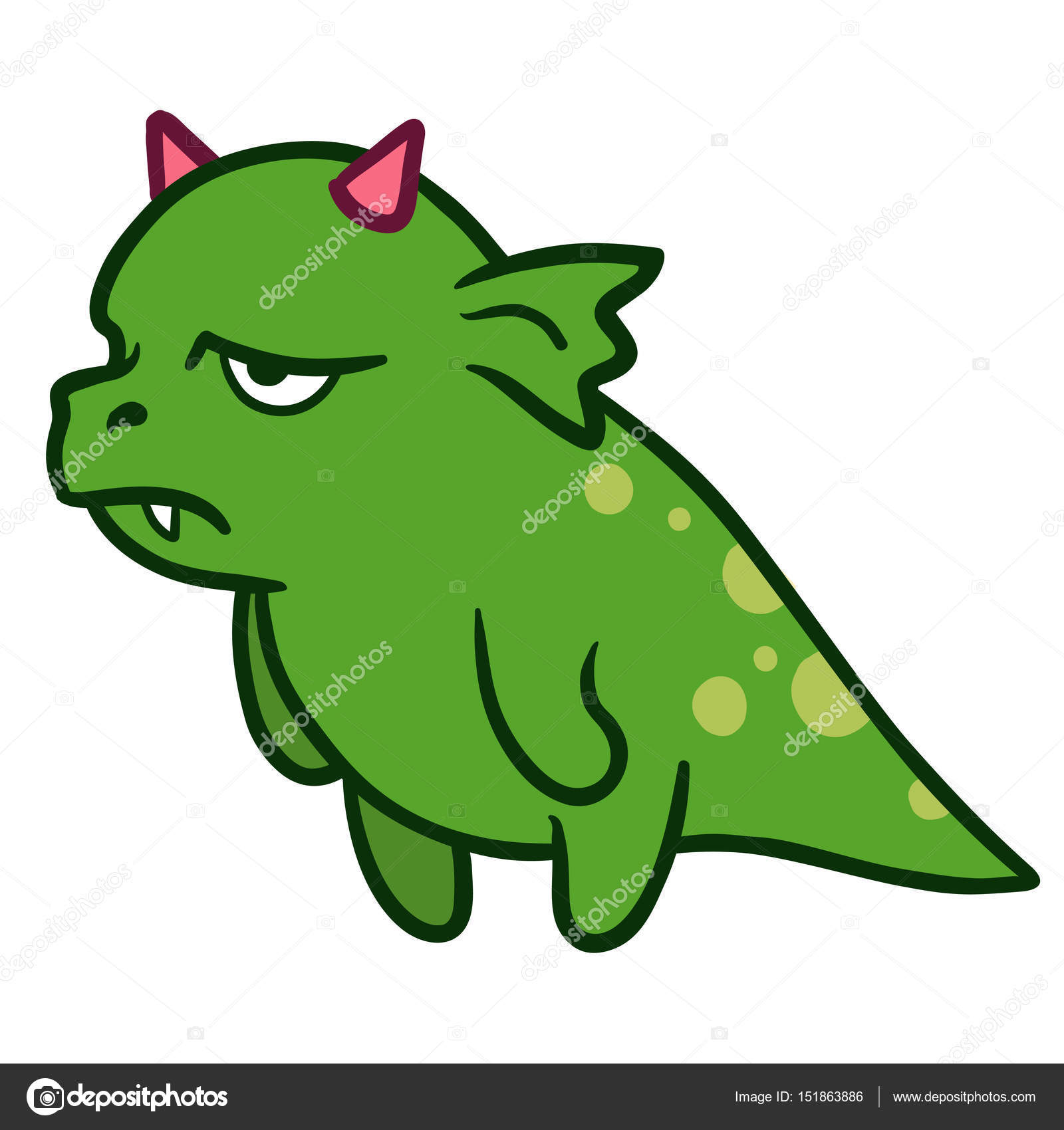cute cartoon angry tired dragon monster stock vector treemouse
