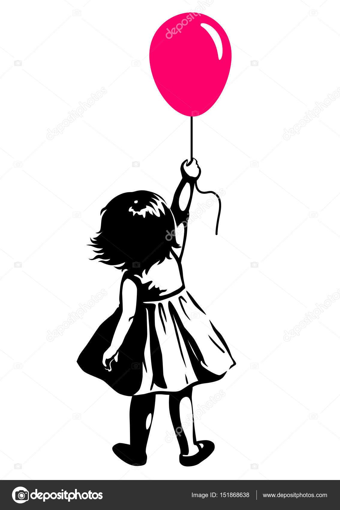 Illustrazione Bambino Con Palloncino Bianco E Nero Bambina Con I