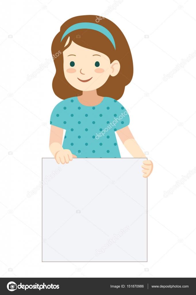 little girl holding blank sign template stock vector