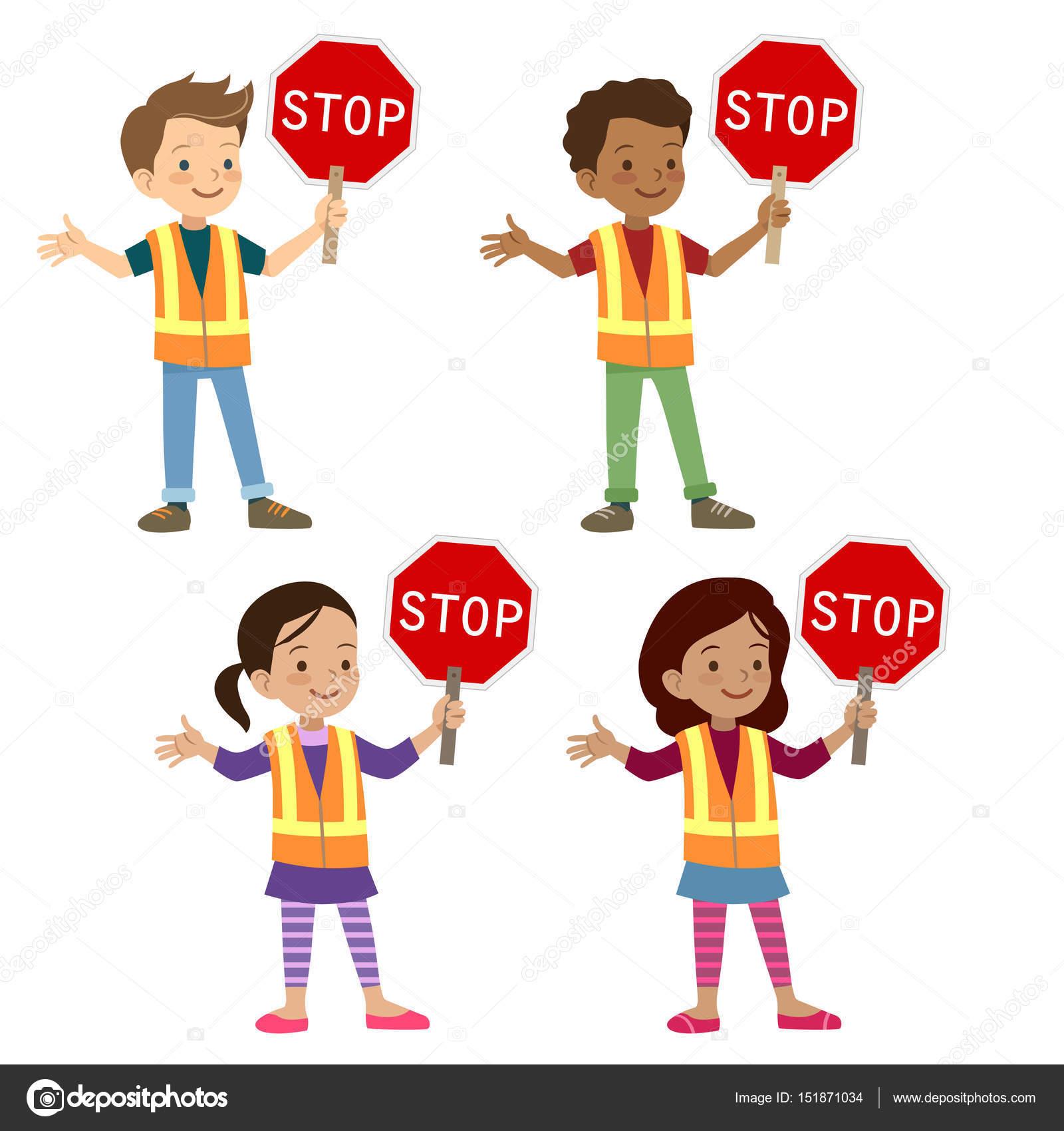 Multicultural children in crossing guard uniform Stock Vector ...