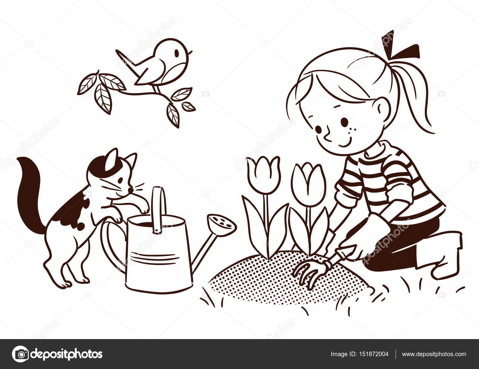 Küçük Bir Kızın Bahar Bahçe çizim çizgi çizgi Film Stok Vektör