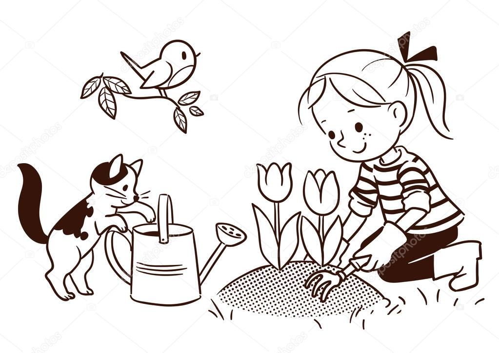 Line cartoon drawing of a small girl gardening in spring
