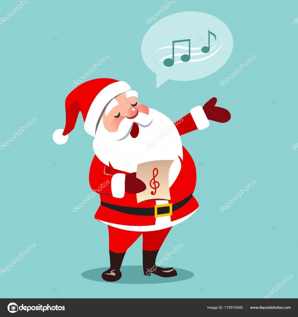 Vektor-Cartoon-Illustration von Santa Claus Weihnachten Auto singen ...