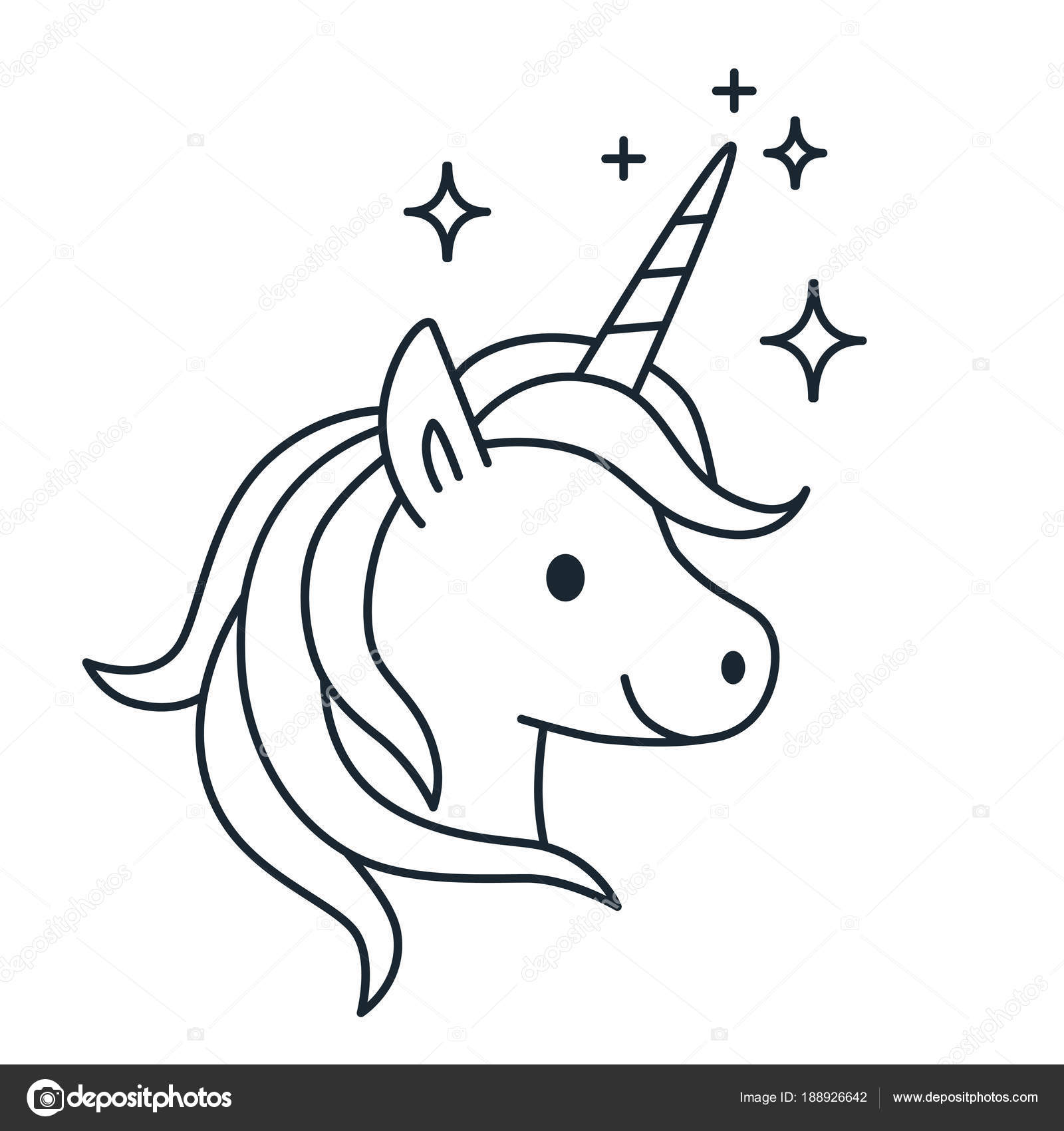 Licorne Magique Mignon Simple Vecteur Ligne Cartoon Illustration