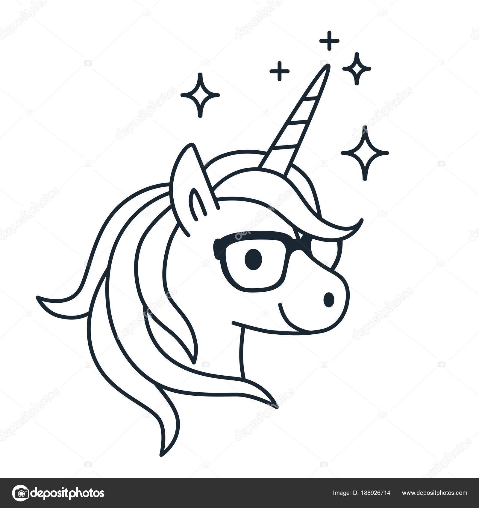 Lindo unicornio usar anteojos solo color contorno ilustración ...