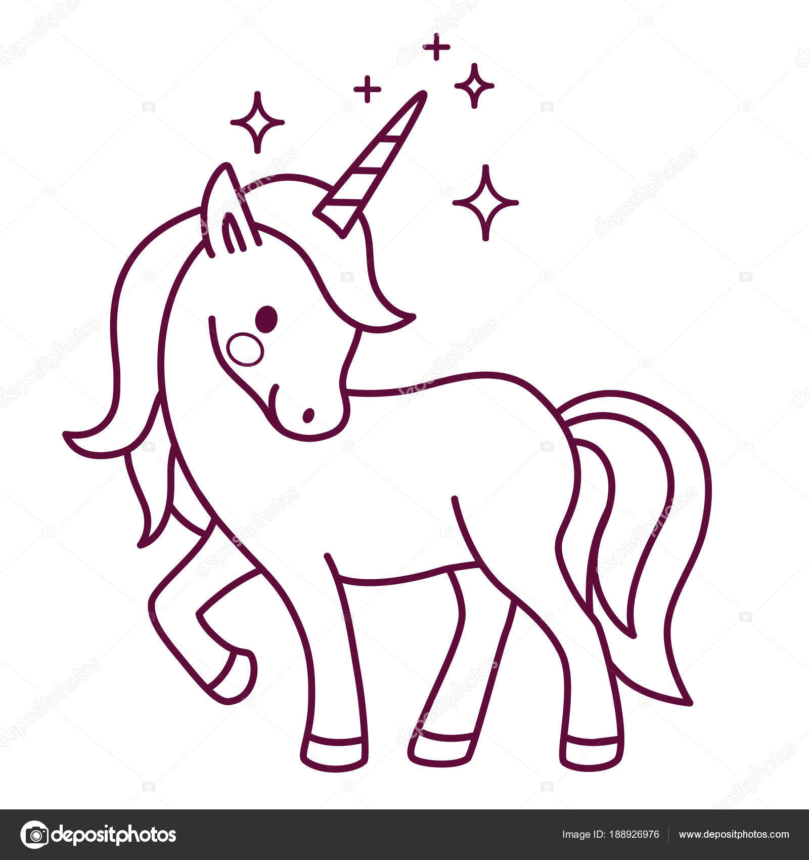 Vector de dibujos animados simples lindo unicornio para colorear ...