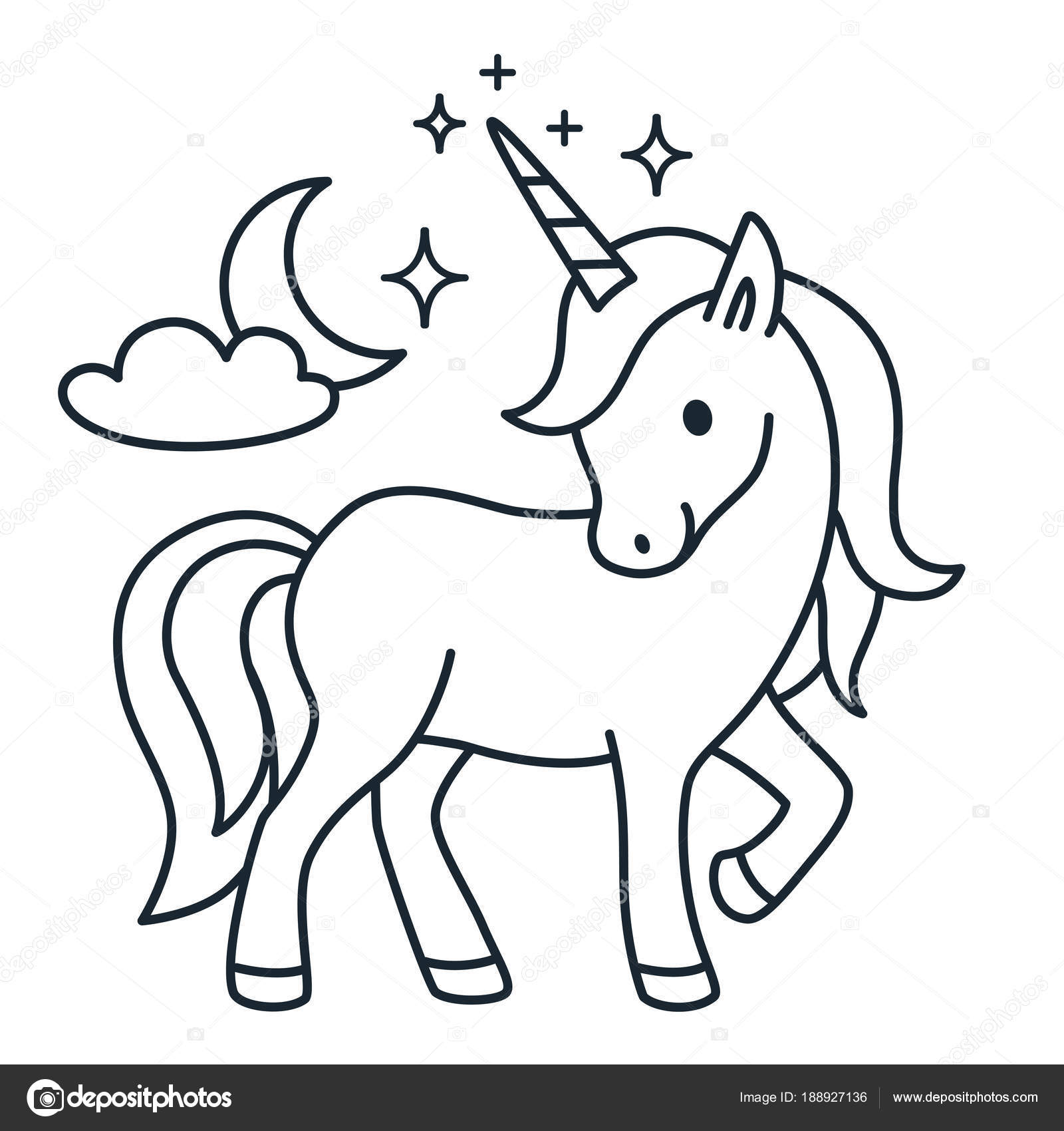 Cute Unicorn Simple Cartoon Vector Coloring Book Illustration S