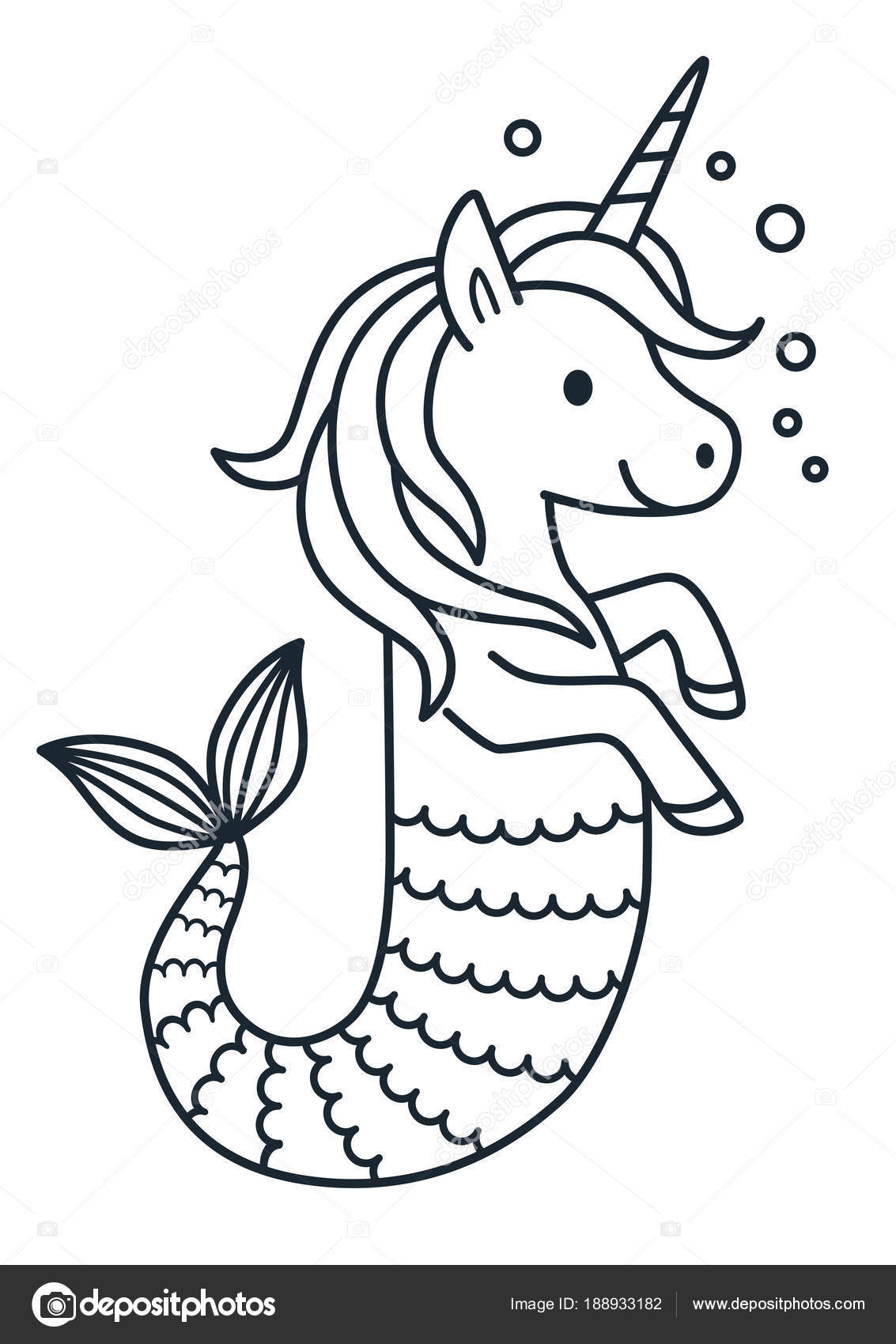 Cute Unicorn Mermaid Vector Coloring Page Cartoon