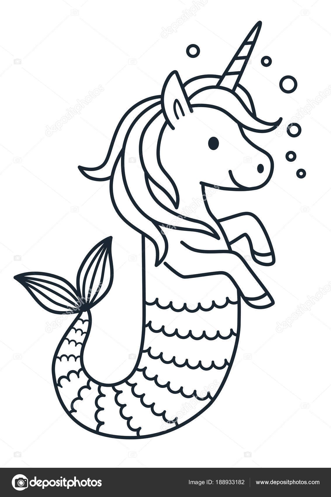 Zeemeermin Kleurplaten.Schattig Unicorn Zeemeermin Vector Kleurplaat Pagina Cartoon