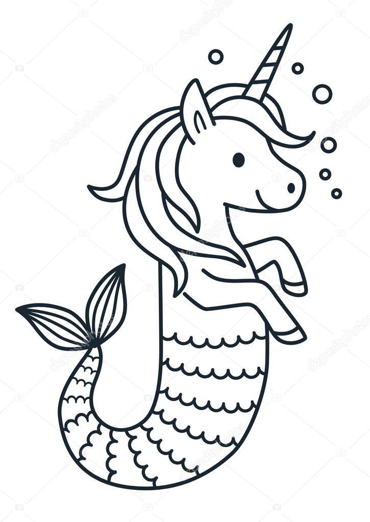 Kleurplaten Van Een Zeemeermin.Schattig Unicorn Zeemeermin Vector Kleurplaat Pagina Cartoon