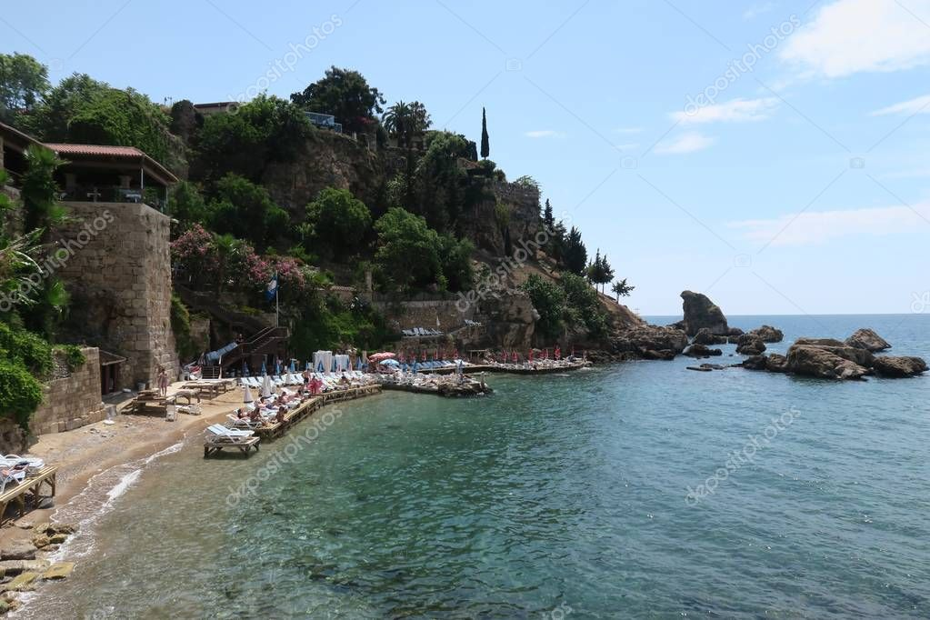 Mermerli Beach and Restaurant with the City Walls in Antalyas Oldtown Kaleici, Turkey