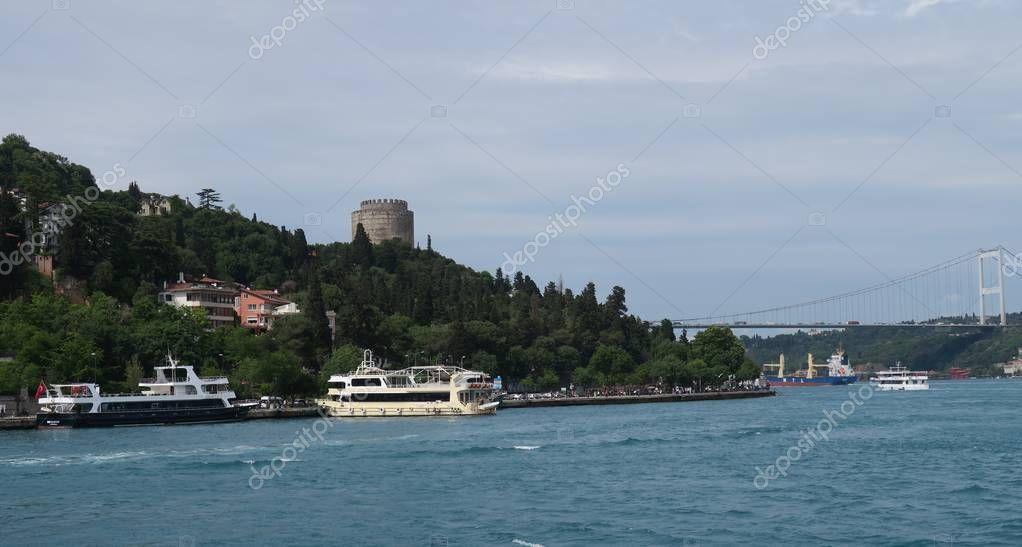 Rumeli Fortress overlooks the European Side of Bosphorus Strait in Istanbul, Turkey.