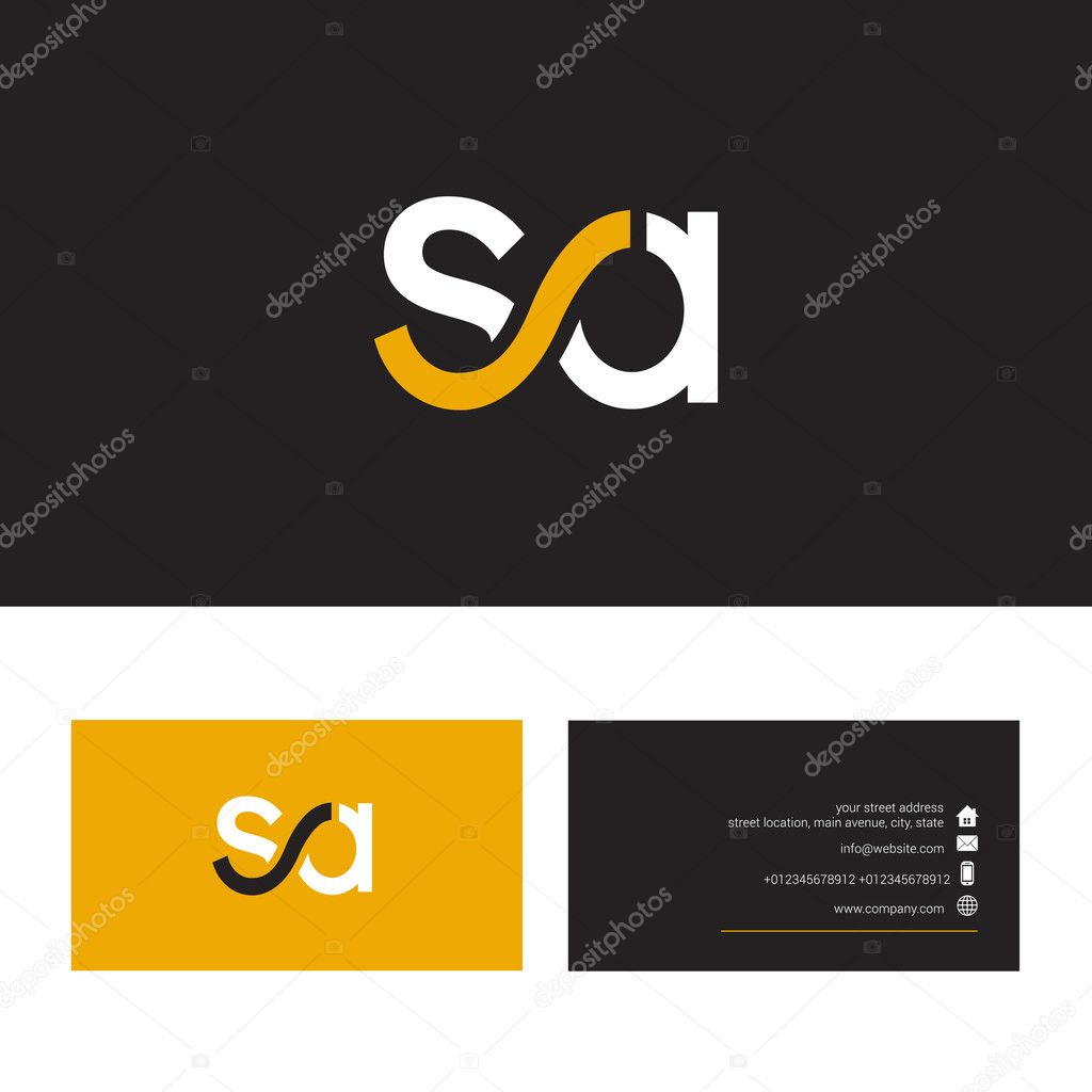 Sa Letter Logo With Business Card Template Stock Vector