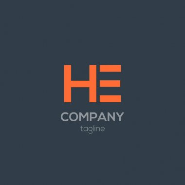 design of HE company logo