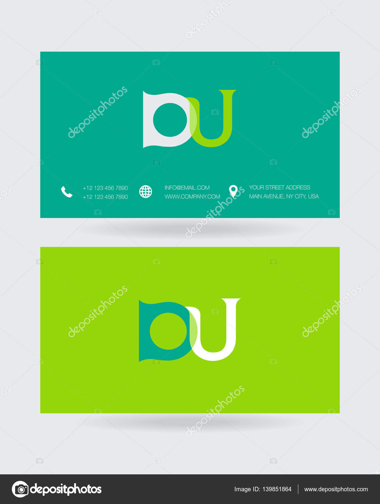 carte de visite papercom gabarit new aqua blue triangle