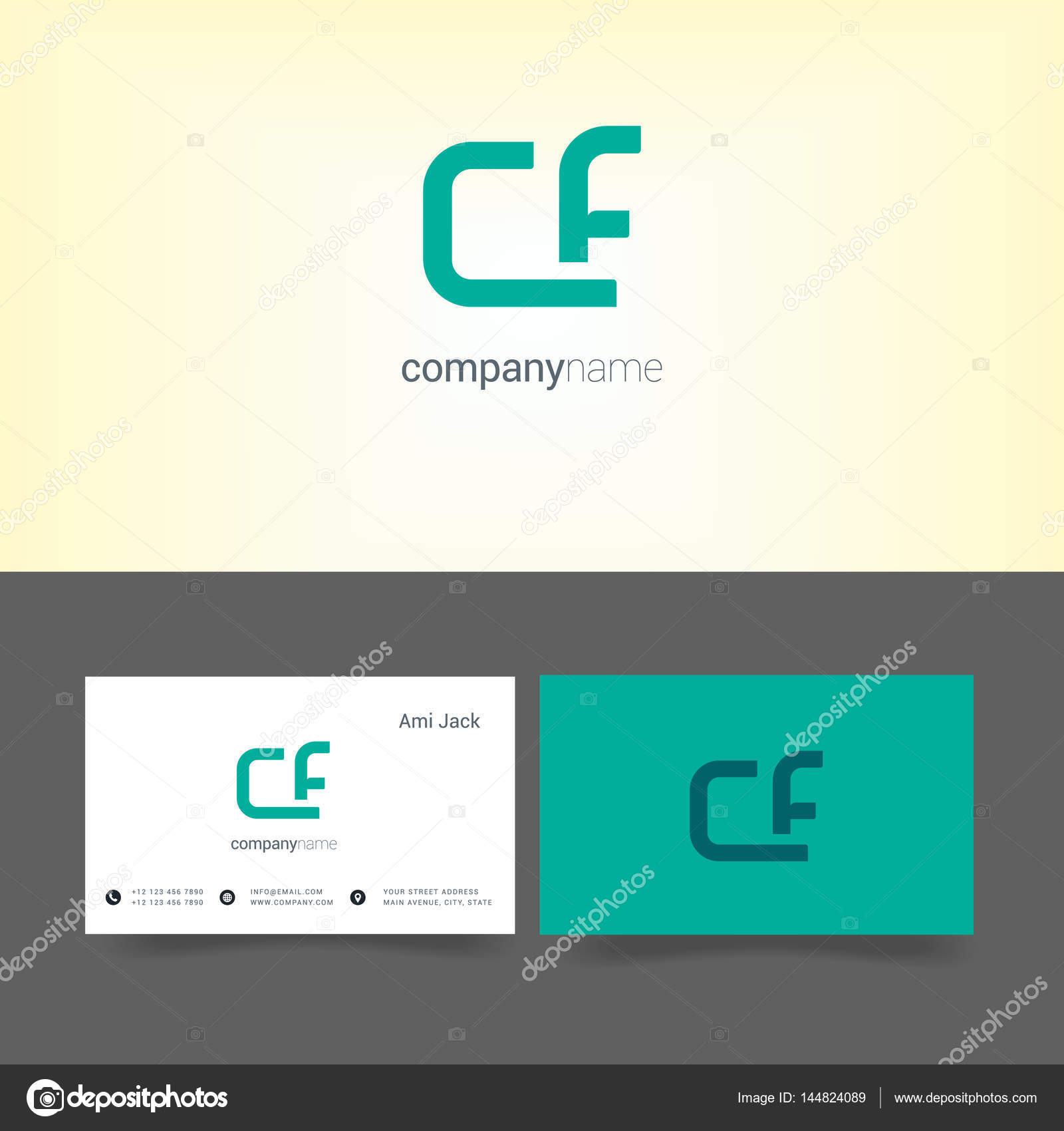 Company logo with business card templates stock vector deepzdzyn cf joint letters company logo with business card templates vector illustration vector by deepzdzyn wajeb Images