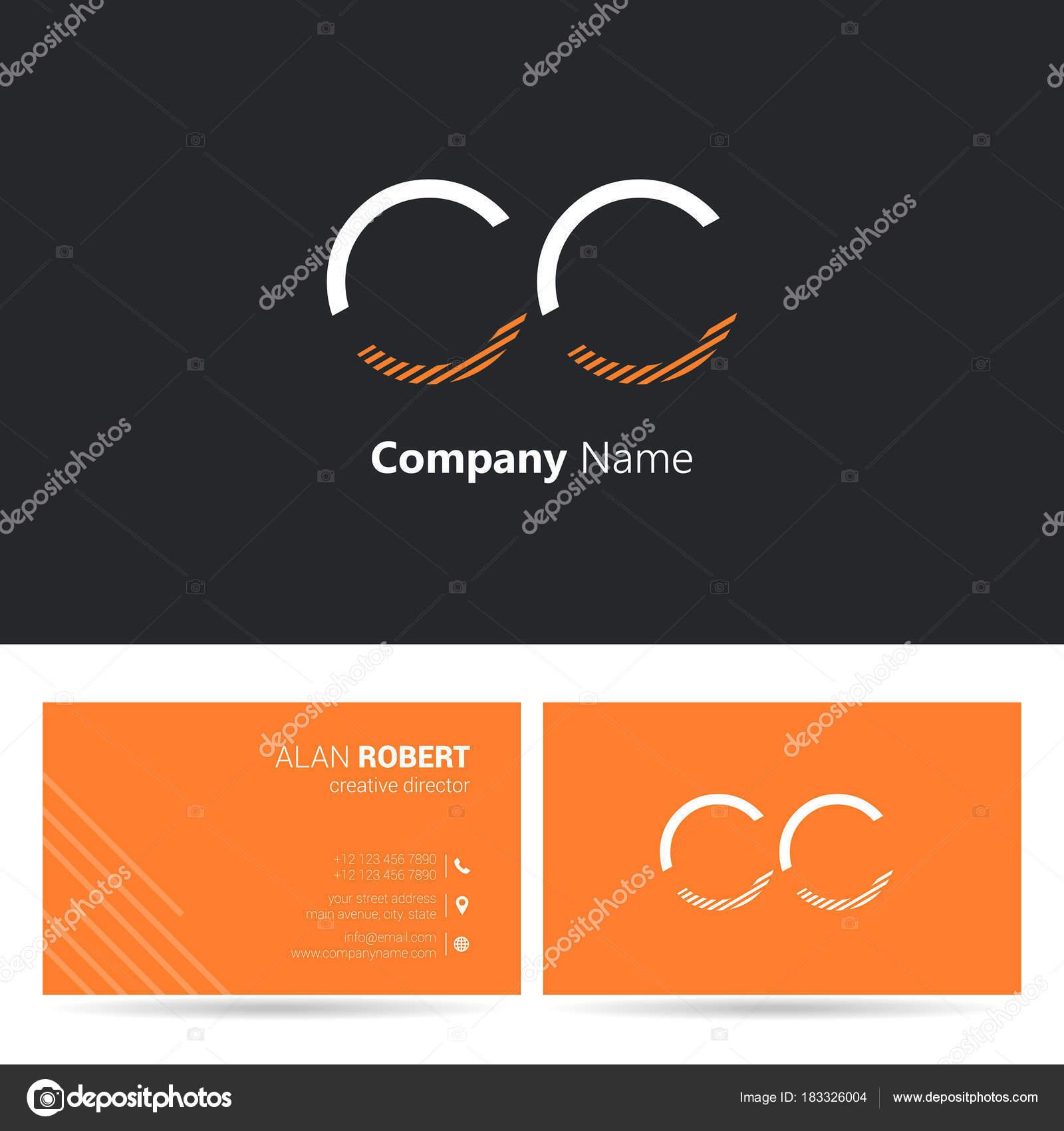 Cration De Logo Lettres Cc Police Style Trait Modle Carte Visite Vecteur Par Deepzdzyn