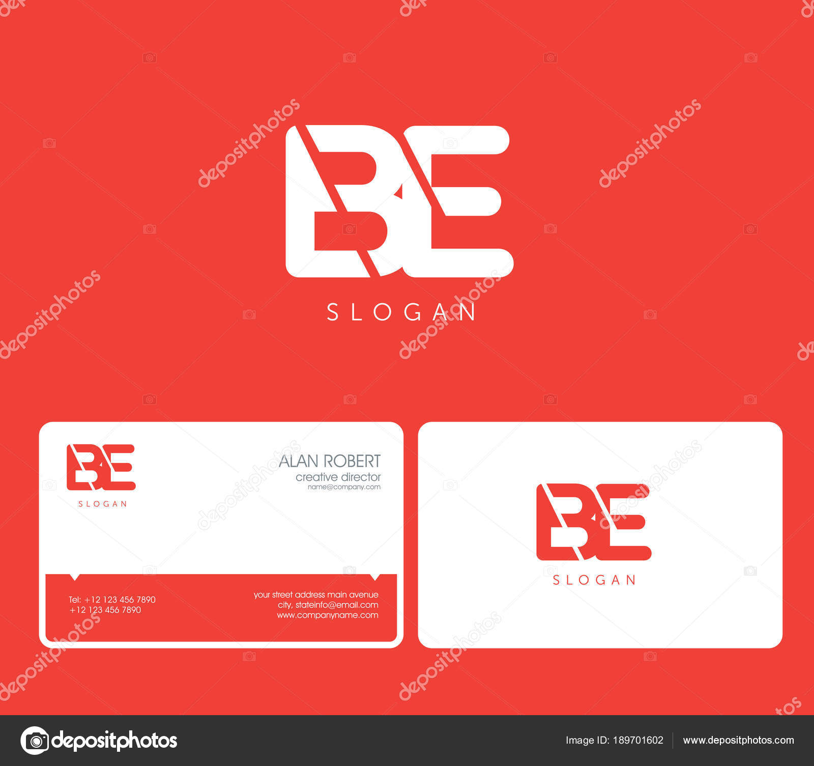 joint logo shape letters business card template red background