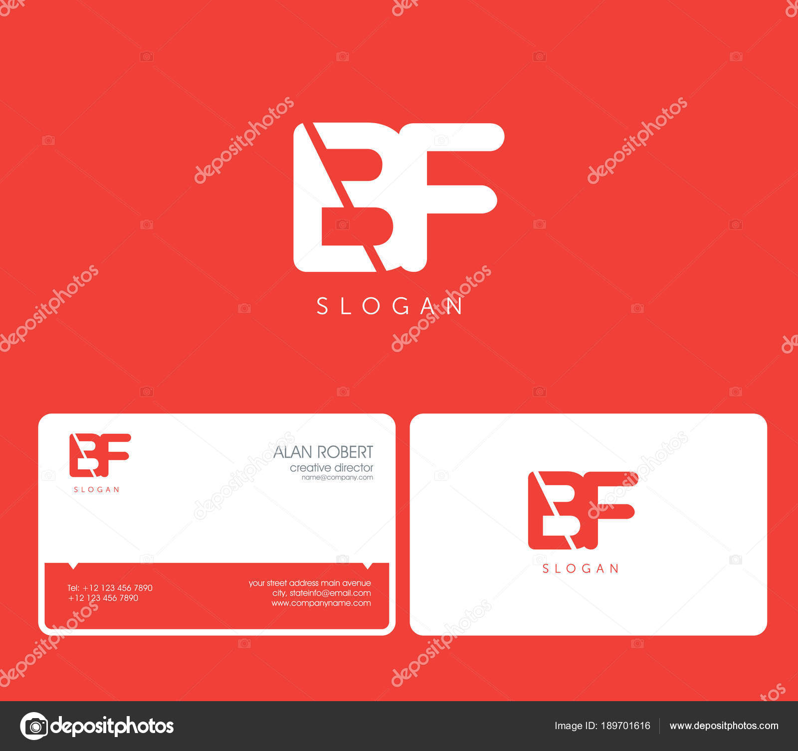 Joint Logo Shape Letters Business Card Template Red Background ...