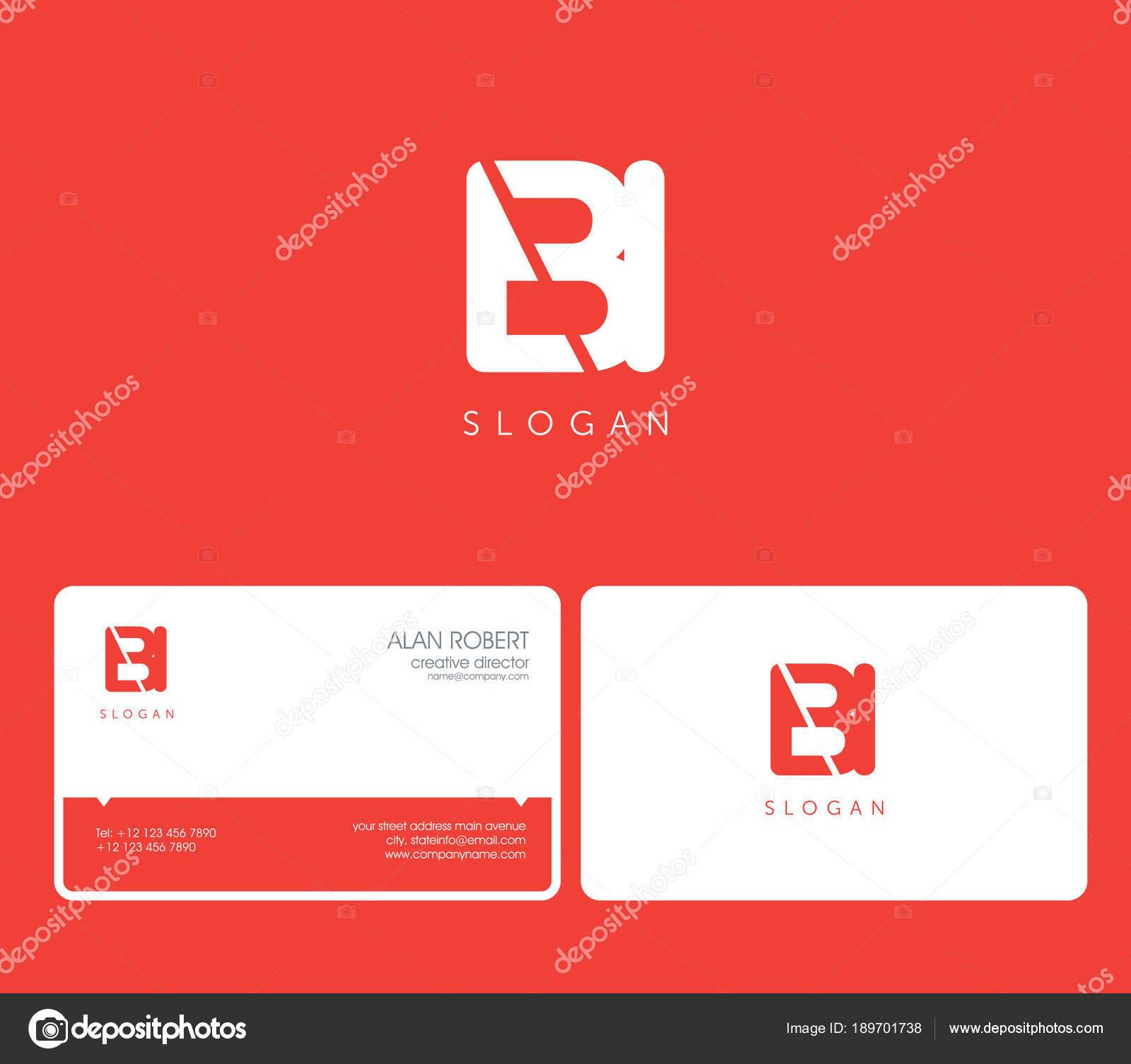 Bi Logo Commun Avec Lettres De Forme Ronde Modele Carte Visite Sur Fond Rouge Illustration Stock
