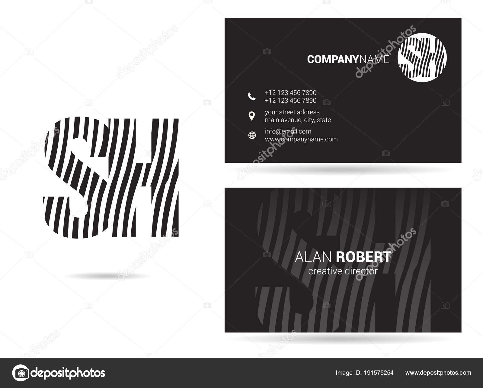Descripteur De Conception Et Carte Visite Logo Noir Blanc Avec Lettres Onduls Sh Vecteur Par Deepzdzyn