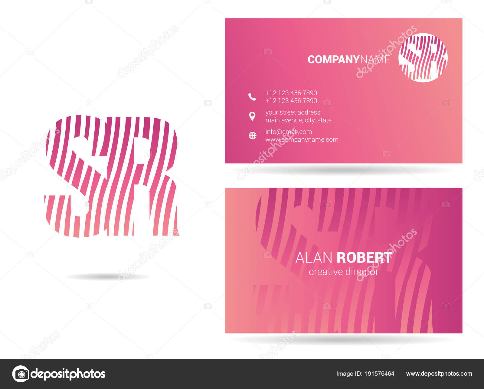 Pink logo design business card template wavy letters stock vector pink logo design business card template wavy letters stock vector maxwellsz