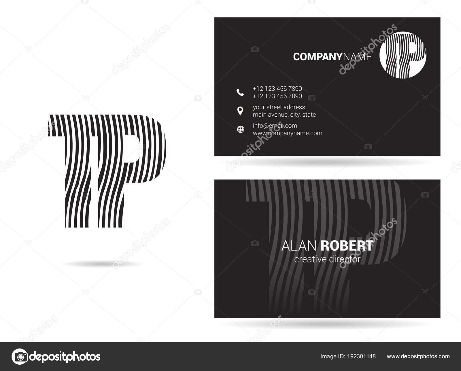 Descripteur De Conception Et Carte Visite Logo Noir Blanc Avec Lettres Ondules Tp Vecteur Par