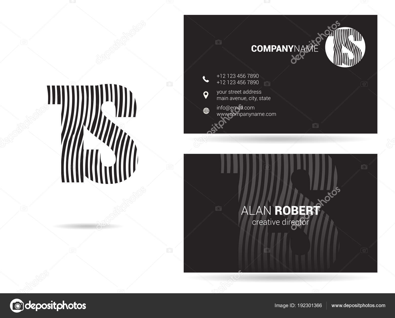 Black white logo design business card template wavy letters stock black and white logo design and business card template with wavy letters ts vector by deepzdzyn reheart