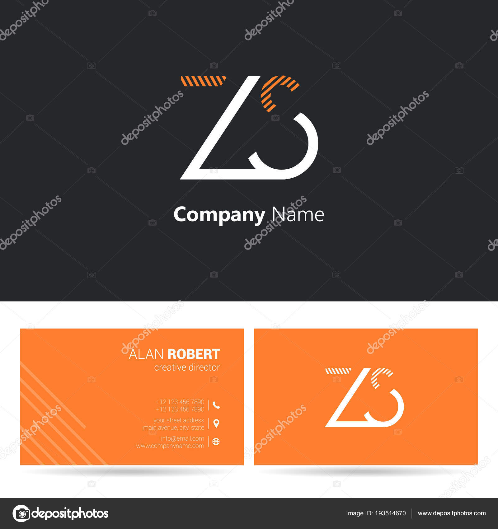 Plantilla Diseño Tarjetas Logo Negro Naranja Con Ondulado Letras ...