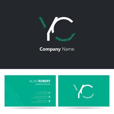 Black and green logo design and business card template with wavy letters Yc