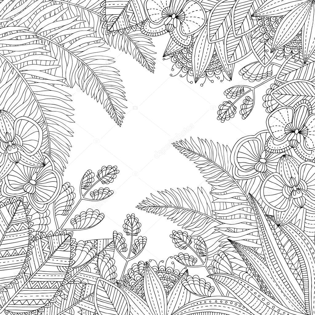 Vector ilustración tropical elaborado con las hojas y flores para el ...