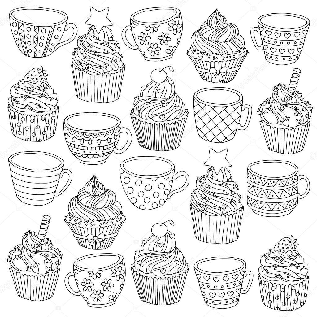 Coloriage Anti Stress Cupcake.Vector Hand Drawn Cup Cupcake Illustration For Adult Coloring Book