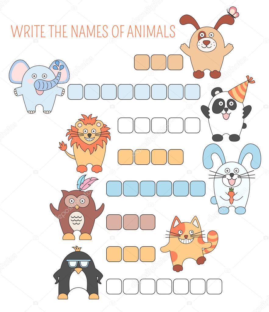 Animales de crucigrama, juego con palabras para niños de educación ...