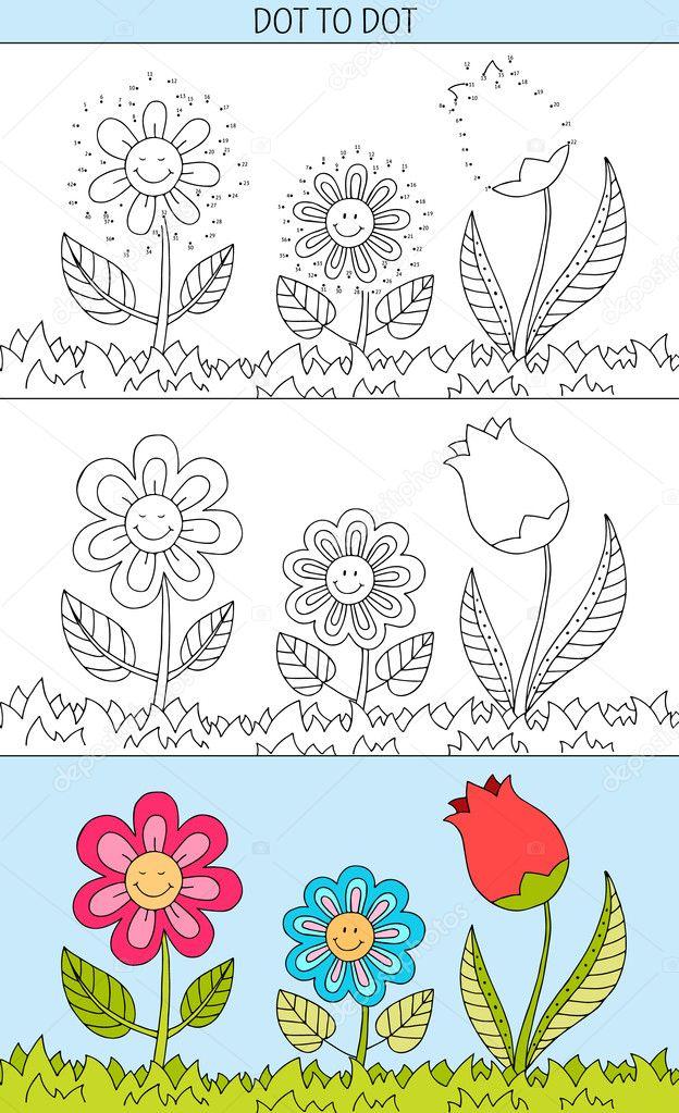 Dibujo de flores para niños | Libro de colorear y punto a punto ...