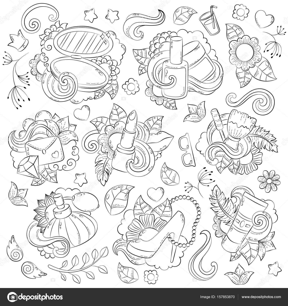Doodle de fondo abstracto de vector dibujado a mano, textura, patrón ...