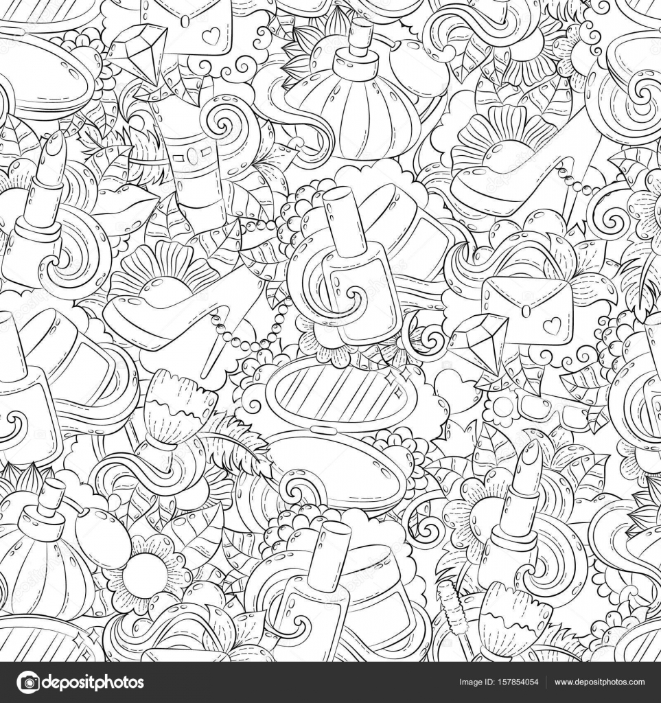 seamless doodle hand drawn vector abstract background texture pattern wallpaper backdrop vector by slo_fuzz - Coloring Book Wallpaper