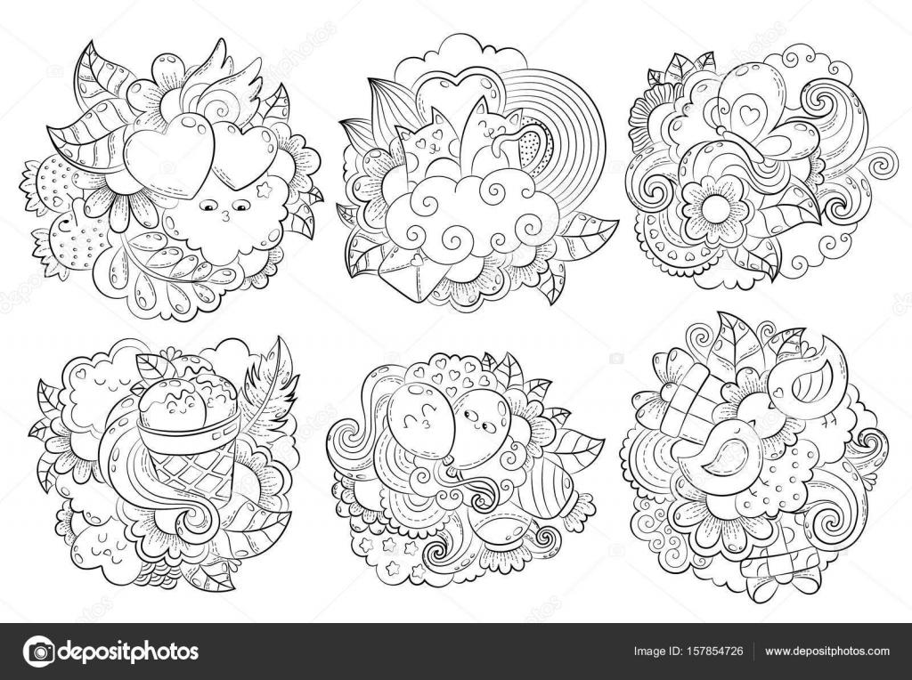 Vektör Elle çizilmiş Komik Kalp Kedi Kuş Tatlı Bulut Balon