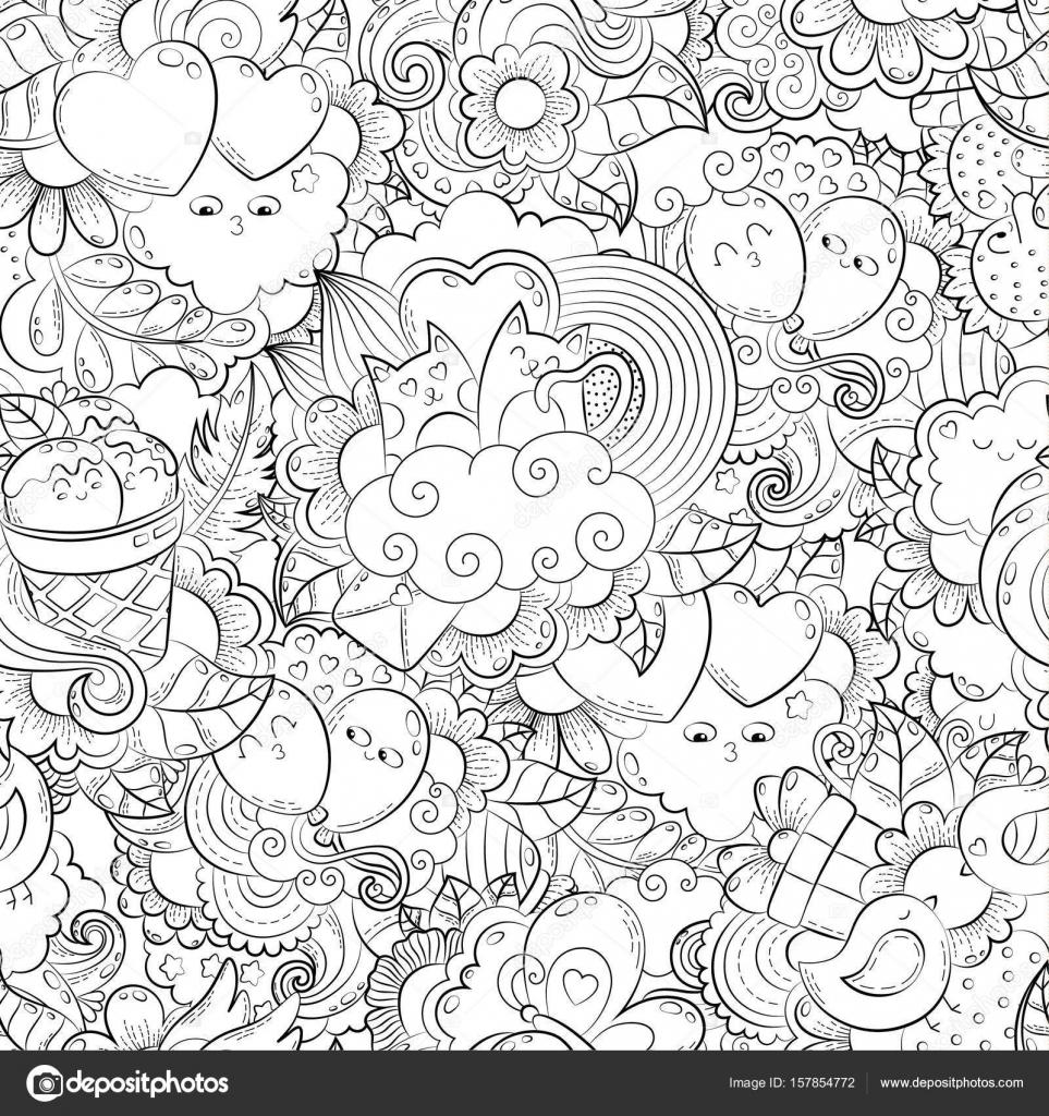 Vector dibujado a mano corazón, gato, globo, nube, fresa, pájaro ...