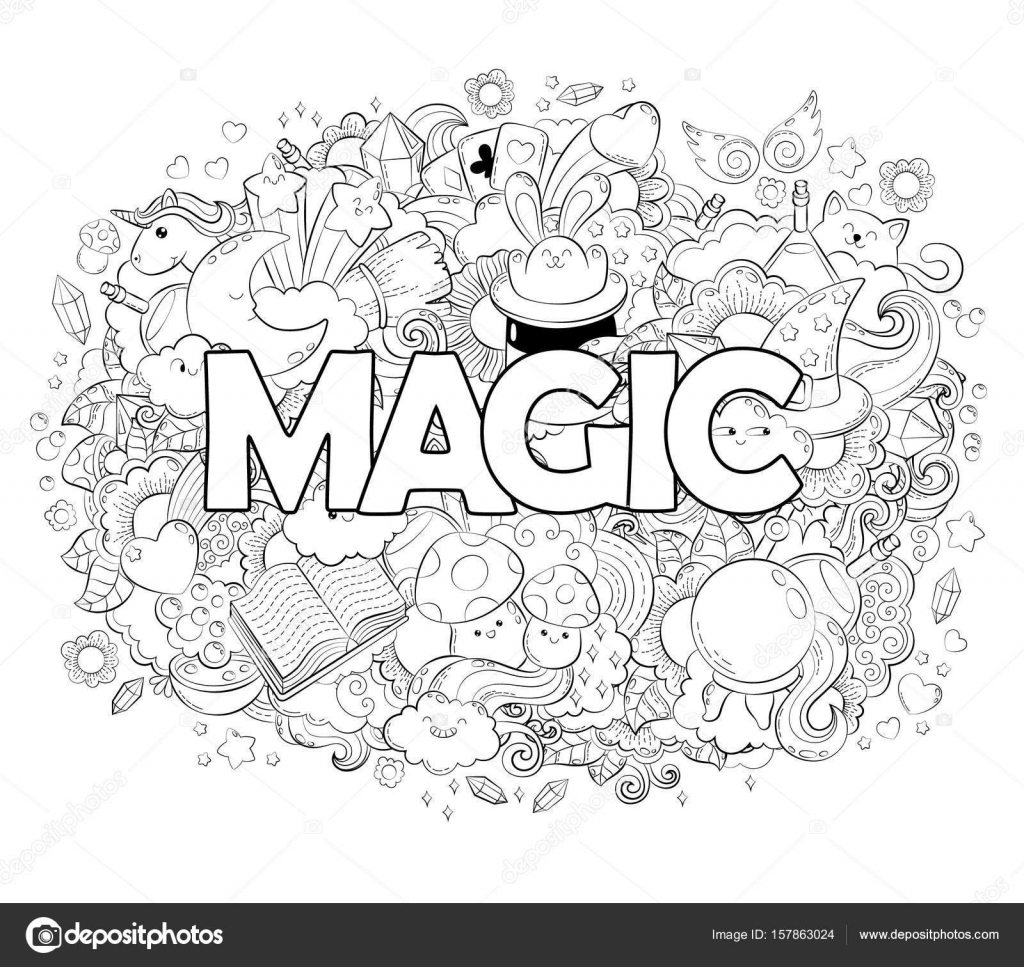 Halloween Concept Hand Drawn Cartoon Doodle Illustration Magic