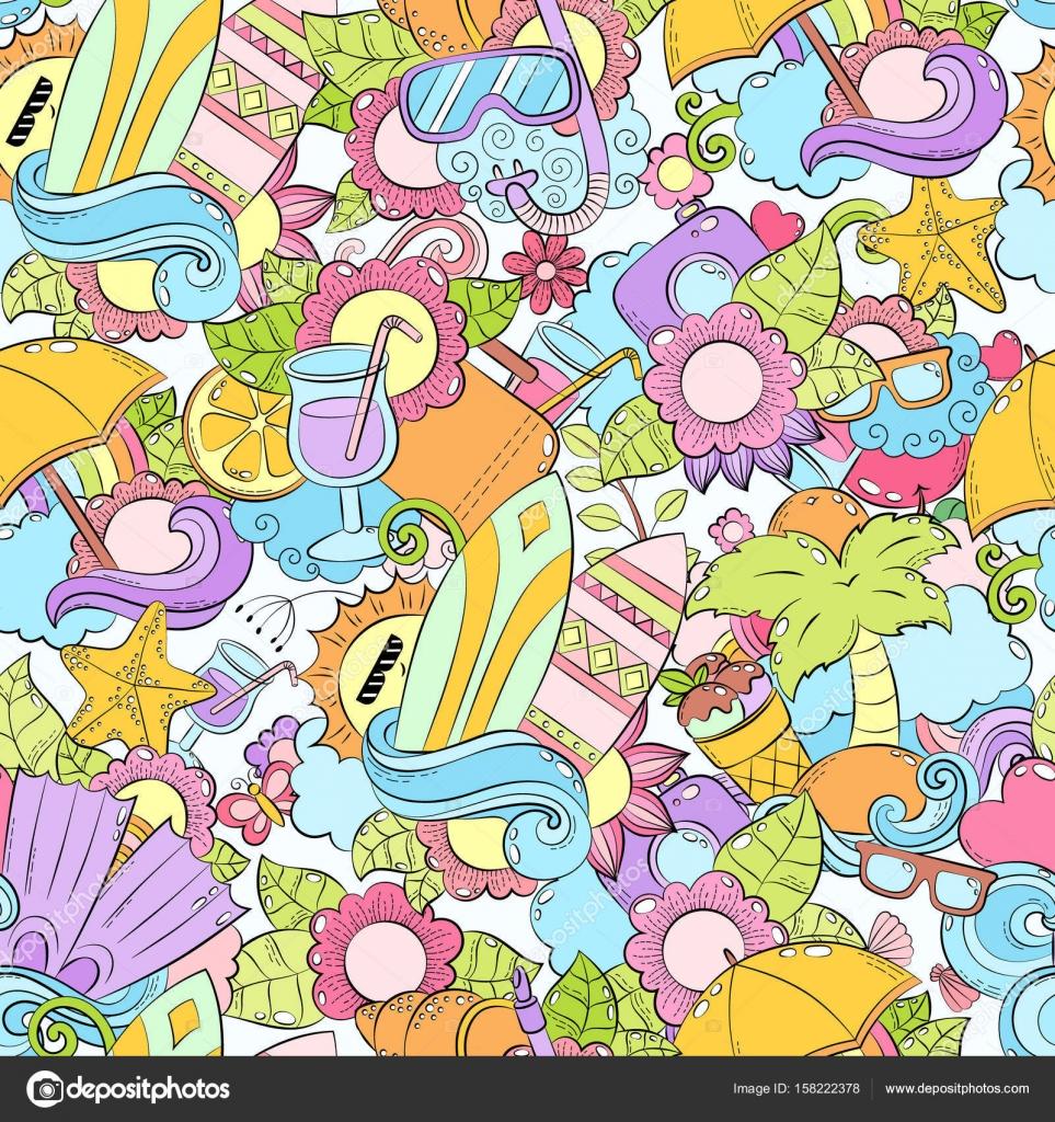 Nahtlose abstrakte Vektor doodle Hintergrund, Sommer Cartoon ...