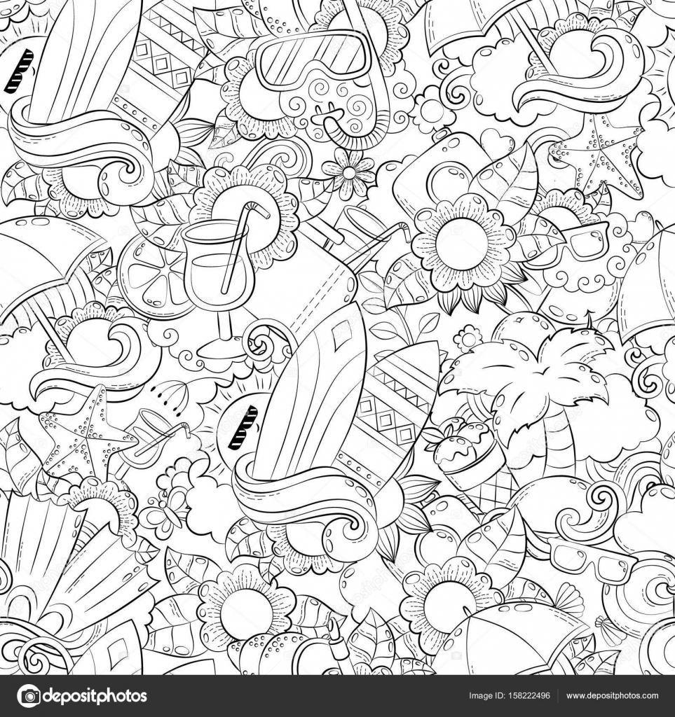 naadloze abstract vector doodle achtergrond zomer