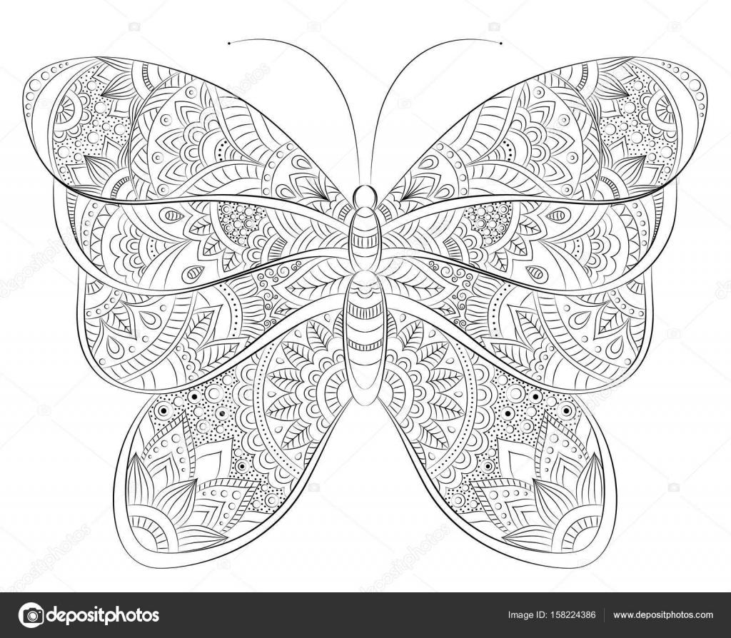 Vector doodle zentangle banner de mariposa. Deseo, felicitaciones ...