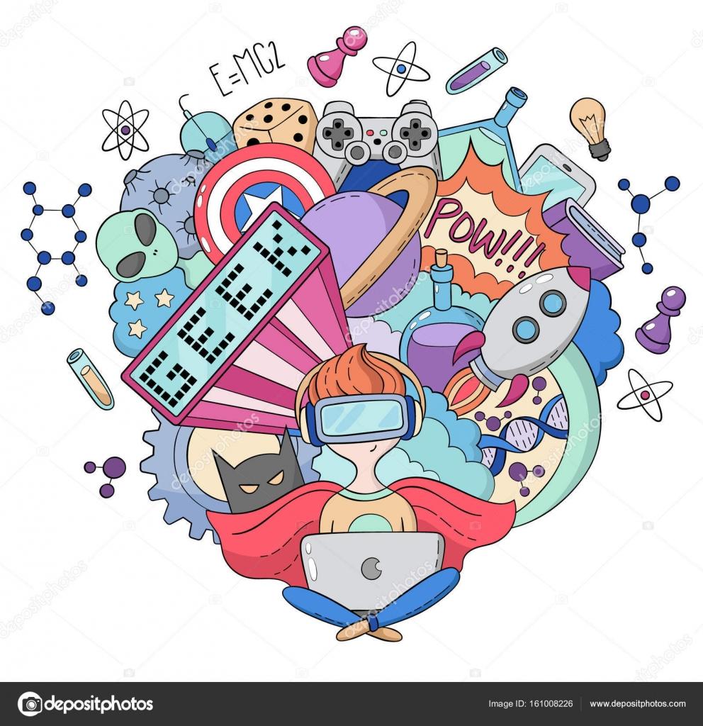 Wallpapers Cool Nerd Vector Cartoon Doodle Illustration