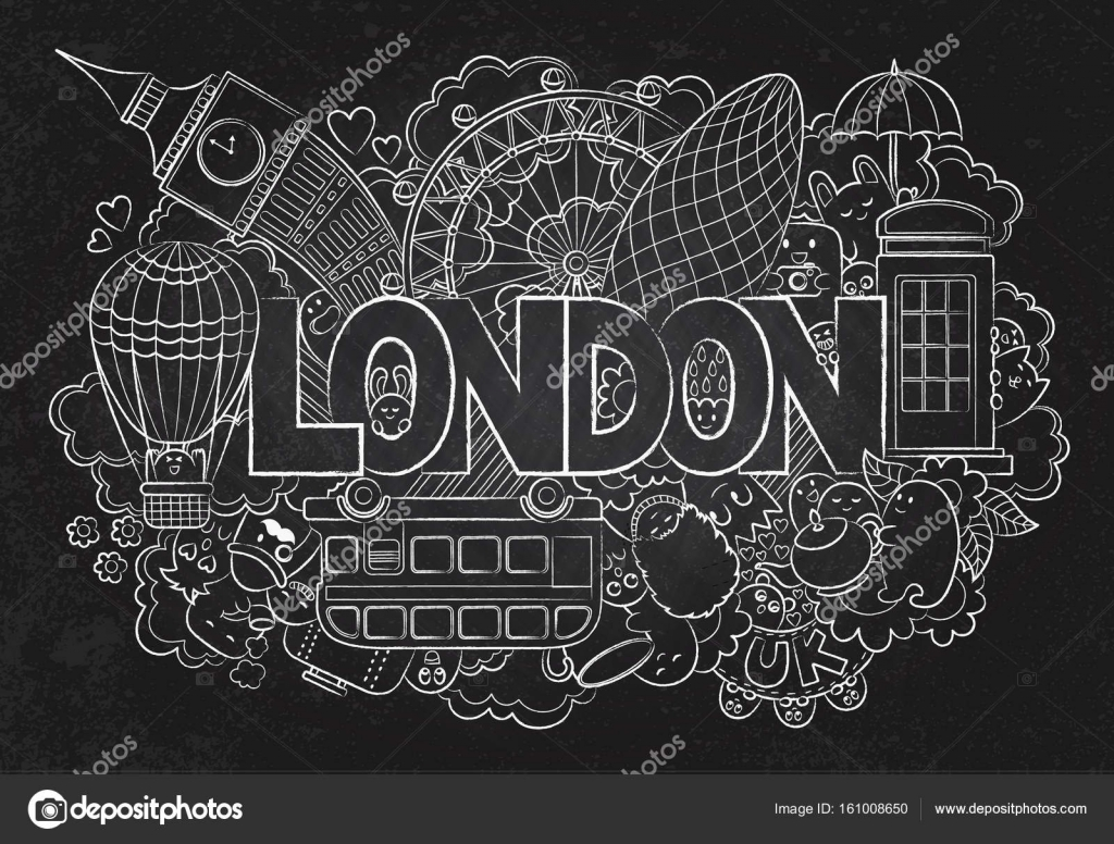 Abstract Background Chalkboard With Hand Drawn Text London Lettering Vector By Slo Fuzz
